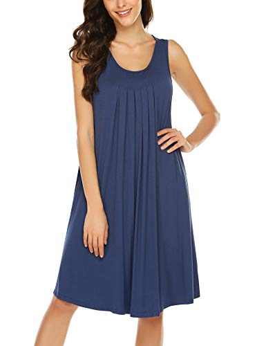 HOTOUCH Nightgowns for Women Sleeveless Solid Middle Lenght Conton Nightdress Nightshirt Blue XXL