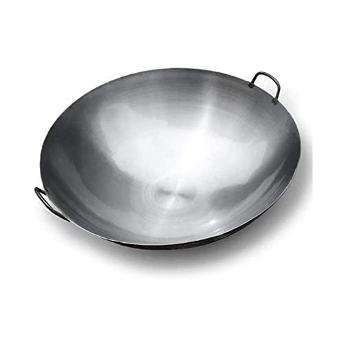 Wok de Hierro Fundido con Mango,20 inch Wok Tradicional de Forjado a Mano, Wok y sartén de hierro martillado a mano chino,sin revestimiento (Tamaño : 50cm)
