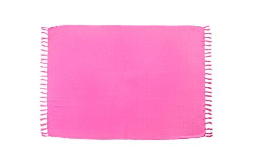 MANUMAR Mujer Pareo opaco, toalla de playa grandes Sarong en rosa brillante, 155 x 115 cm, toalla vestido de verano, bikini vestido de playa