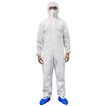 PAGE ONE Disposable Isolation Suit,Long Front Elastic Waistband & Cuffs Protective Coverall Suit/M