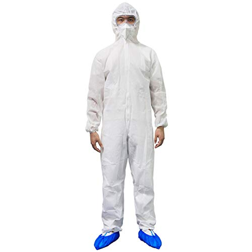 PAGE ONE Disposable Isolation Suit,Long Front Zipper Elastic Waistband & Cuffs Protective Coverall Suit/M
