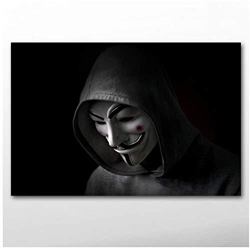 sjkkad Hacking Hacker V als Vendettas masker muurkunst poster canvasfoto's kunstwerken voor woonkamer decoratie druk op canvas -60x90cm geen lijst