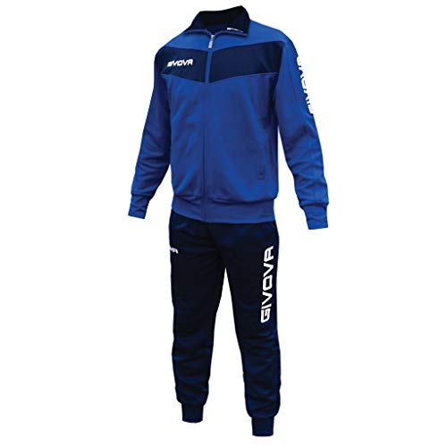 menitashop Tuta GIVOVA Uomo Donna Visa Fitness Calcio Blu Nero Bianco Giallo Rosso (Azzurro/Blu, L)