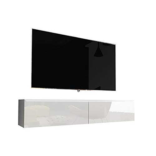 Selsey Kane - Mueble TV Flotante/Mesa TV/Mueble para Salón/Mueble TV Suspendido (140 cm, con LED, Blanco Matte/Blanco Brillante)