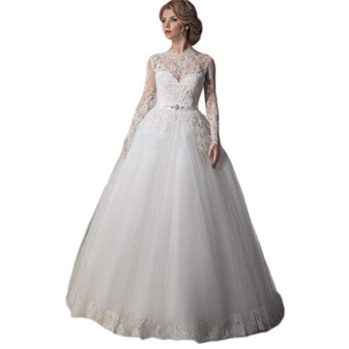 YAONAI Sweetheart Brautkleider, Kapelle Sweep Zug Brautkleid, Spitze Appliques Hochzeit Brautkleid,White_US:4(M)