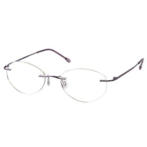 MIDI (ミディ) 老眼鏡 ふちなし ブルーライトカット UVカット メタルフレーム オーバル レディース カラー:ライラック(M119,C3,+1.00)