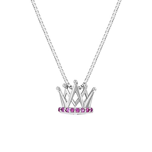 In Season Jewelry Plata Fina 925 Collar con Colgante en Forma de Corona con Circonita Rosa para niñas
