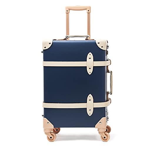 urecity Clásico Lujo Maletas de Viaje rigidas Linda Retro Equipaje de Mano Equipaje Maleta Trolley Juvenil con Ruedas (Azul Retro con Blanco, 26'(76x40,6x25,4 cm))