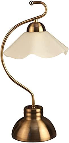 Lámpara de mesa, moderna y elegante lámpara de noche de dormitorio minimalista y elegante, lámpara de mesita de noche de personalidad retro pastoral, interruptor de botón, lámpara de vidrio, lámpara d
