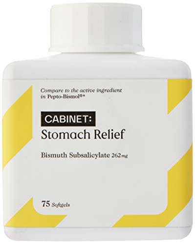 Cabinet Upset Stomach Relief Liquid Softgels, 75 Count, 262 mg Anti Diarrhea Medicine for Adults and Kids 12 and Up, Fast Acting Bismuth Subsalicylate Antidiarrheal