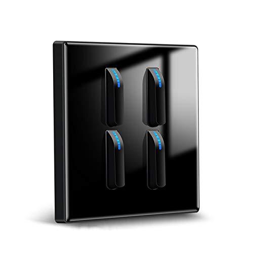 Foicags Interruptor del panel 86 Tipo incrustado 16A negro europeo estilo simple interruptor de cristal templado interruptor de pared interruptor de luz con indicador LED interruptor de botón de rocke