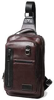 Crossbody Bags For Business - Men Business Crossbody Bag Cowhide Retro Chest Bag - Coffee