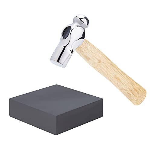 BENECREAT Mini martillo para joyas con cabeza de hierro y bola de hierro de 10 x 10 x 3 cm, bloque cuadrado de goma negro, para fabricación de joyas, manualidades