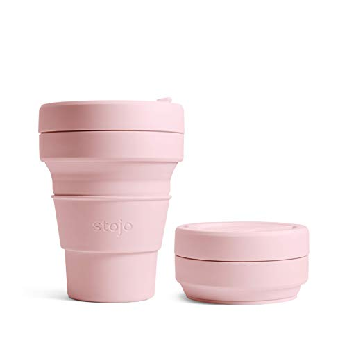 Stojo On The Go Klappbare Kaffeetasse, Silikon, Carnation Pink, 237ml