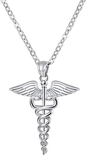 NC198 Personalizado Retro Doble Palo de Serpiente Ambulancia Logo Colgante alas de ángel Hombres y Mujeres Collar de Acero Inoxidable