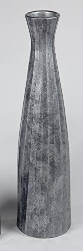 formano Bodenvase Flaschenvase Streifen konisch rund H. 80cm Silber grau