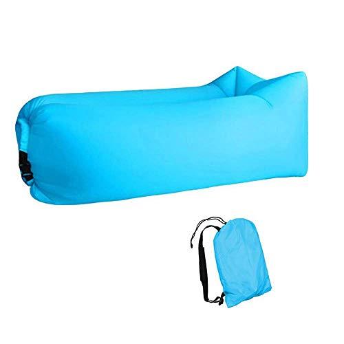 Tumbona Inflable Sofá de Aire Hamaca portátil, Sofá portátil a Prueba de Fugas,Cama de Aire Inflable rápida con Bolsa de Almacenamiento, para Viajes/ Piscina/ Playa/ Camping/ (Azul)