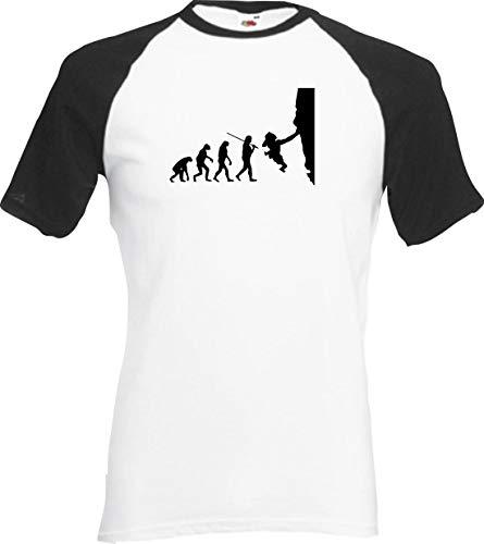 Shirtinstyle Raglan Chemise Evolution Alpiniste Freeclimber Différentes Couleurs, S-XXL - Blanc-Noir, XXL
