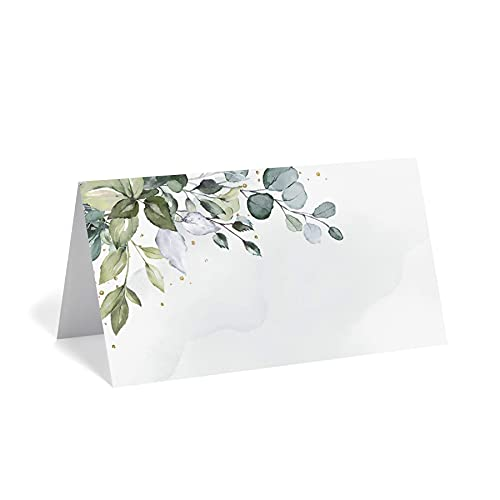 Bliss Collections Greenery Watercolor Place Cards for Wedding or Party, Seating Place Cards for Tables, Scored for Easy Folding, 50 Pack, 2 x 3.5 Inches