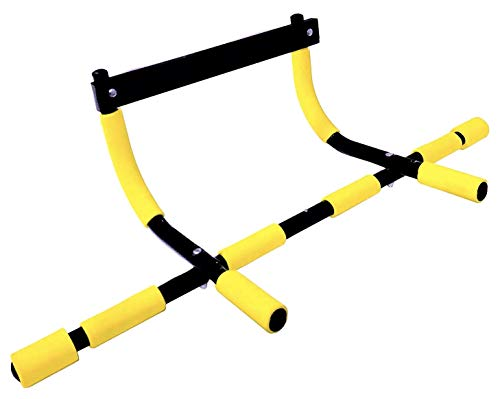 SOTASTIC Pull Up Bar for Doorway Push Up Fitness Home Gym Exercise Adjustable Steel Work Out Door Bar (Yellow)