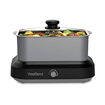 West Bend 87905 Versatility Slow Cooker Large Capacity Non-Stick Dishwasher Safe Variable Temperature Control Includes Travel Lid & Thermal Carrying Case 5-Quart Silver