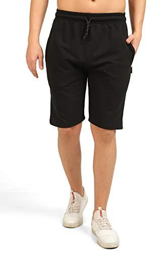 Comeor - Pantaloncini sportivi da uomo, corti, per corsa, pigiama e fitness, per il tempo libero, per fitness, jogging, allenamento, attività all'aperto Nero L
