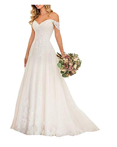 Meganbridal Women's Off The Shoulder A Line Wedding Dresses with Train for Bride 2020 Lace Long Bridal Ball Gown Ivory