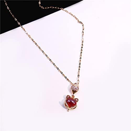 JIAQINGRNM Collares Collar de Acero de Titanio Cadena de Clavícula Coreana Hip-Hop Letra de Cintura Pequeña Mariposa Colgante de Amor Femenino Collares de la Amistad para Collar Pareja