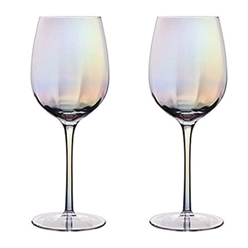 Vasos Cristal Colores, Arcoíris Nácar Modernos Copas de Vino Tinto Grandes con Tallo Largo, Copas Balon, Copas Gin Tonic, Copas de Cava Cristal para Casa, Restaurante, Fiestas (Copas de Vino Tinto)