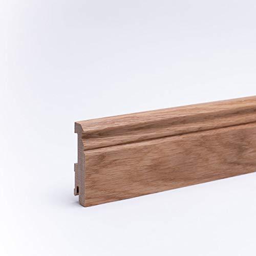 Massivholz - Sockelleiste Berliner Profil 80mm - Eiche - Echtholz Fußleiste - 80 x 20 x 2.400mm Geölt