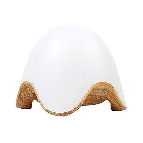 EgoEra® Mini USB Wiederaufladbar ätherisches öl Aroma Diffuser, Eierschale Form Holz Korn Aromatherapie Diffusor Maschine, Luftreiniger mit 7 Farben ändern LED Nachtlicht, Helle Farbe