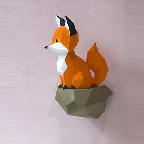 WXMYOZR Decoración De La Pared De Papel De Pared DIY Origami Decoración De La Pared del Trofeo De Bricolaje Papercraft De Cartón Animal 3D Papel Mural Estatua De Juguetes De Decoración