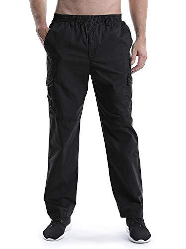 Mesinsefra Herren elastische taille leichte arbeitskleidung pull auf casual cargohose 38 schwarz