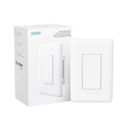 Aqara Smart Wall Switch (No Neutral, Single Rocker), Requires AQARA HUB, Zigbee Switch, Remote Control and Set Timer for Home Automation, Compatible with Alexa, Apple HomeKit, Google Assistant