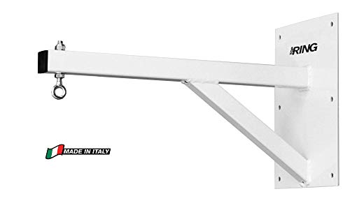 ORIENTE SPORT Supporto Fisso per Sacco Top Ring, Fissaggio a Muro, Lunghezza 60 cm, Made in Italy (Bianco)