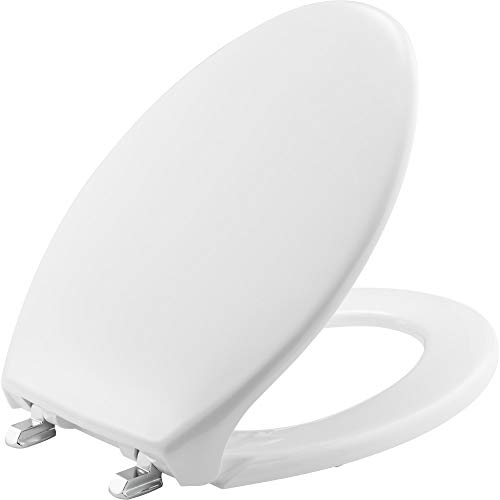 BEMIS 1900SS 000 Commercial Heavy Duty Closed Front Toilet Seat with Cover and Stainless Steel Self-Sustaining Hinges, ELONGATED, Plastic, White