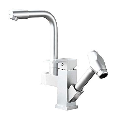 Chroom Space Aluminium pull-out keuken zink faucet Dish Bowl warm en koud water stretch Universal Black Faucet voor keuken kraan koud en warm water Zilver.