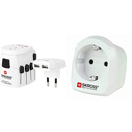 SKROSS PRO World + USB - Reiseadapter inklusive USB-Ladeport (2400 mA) & Country Adapter...