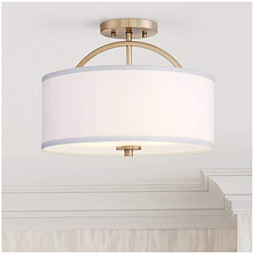 Halsted Modern Ceiling Light Semi Flush Mount Fixture Warm Brass 15' Wide White...