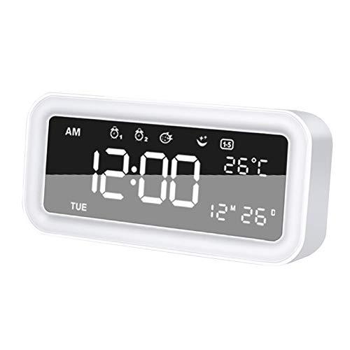 MagiDeal Reloj Despertador con Pantalla LED Despertador Digital Reloj de luz Nocturna con Fecha Calendario Temperatura para Viajes de Oficina en casa - Blanco
