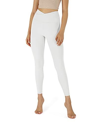 ODODOS Women's Cross Waist 7/8 Yoga Leggings with Inner Pocket, Workout Running Tights Yoga Pants -Inseam 25', White, Large
