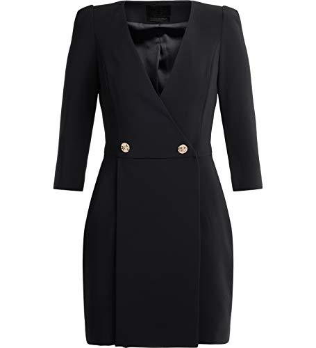 ELISABETTA FRANCHI Women's Black Wallet Dress with Three-Quarter Sleeves 42(IT)-M(US) Black