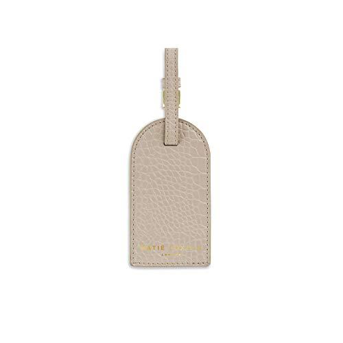 Katie Loxton 4.25 inch Celine Faux Croc Vegan Leather Fashion Luggage Tag Oyster Grey