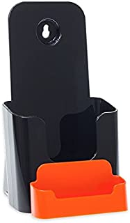 Source One 4 X 9 Inches Tri Fold Brochure Holder with Business Card Holder (1 Pack, Black & Orange)