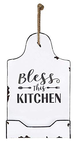 'Bless This Kitchen' Decorative Metal Cutting Board Sign/Recipe Holder