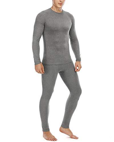 Thermal Underwear for Men Microfleece Lined Long Johns Top & Bottom Grey