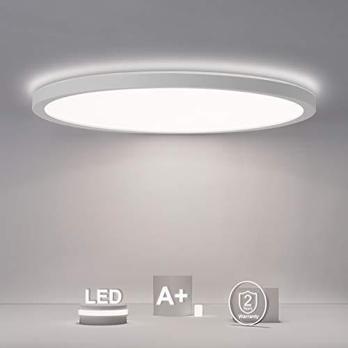 Led Deckenleuchte Rund Flach, 18W 2200LM Deckenlampe Panel 4000K IP44 für Badezimmer/Flur/Schlafzimmer/Keller/Balkon, Modern Weiß Ultra Dünn 29cm