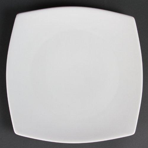 Assiettes carrées bords arrondis blanches en porcelaine 270mm Olympia 270mm. Vendues par 6.
