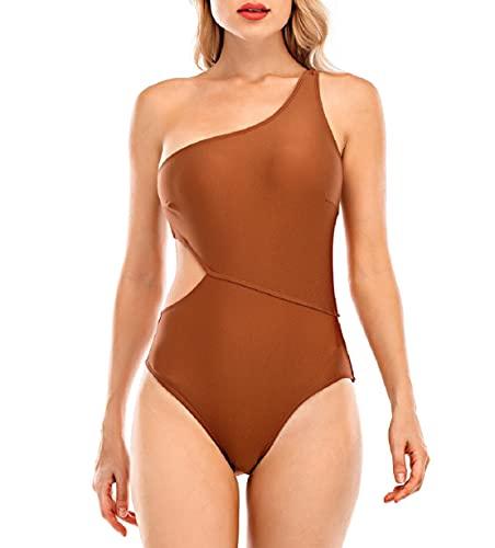 Voqeen Costume da Bagno Donna Intero Donna con Cut out Interi Bikini Trikini Costumi da Mare Monokini Spiaggia Costumi da Bagno Donna Una Spalla-Verde-XXL