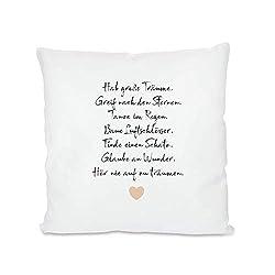 Hab große Träume, Kissen mit Spruch - besondere Geschenkidee für Kinder, Teenager und Frauen, Bezug inkl. Füllung